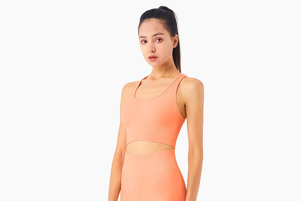 orange sports bra vest for women